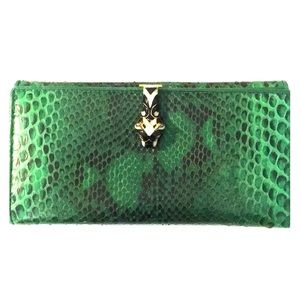 Gucci Python Green Tiger Head Wallet